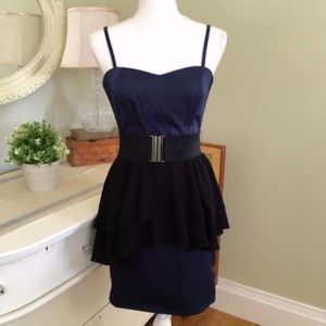 H&M Blue and Black Peplum Dress, 6
